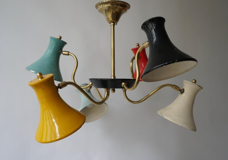 Six-Shade Pendant Light, Italy, 1950s In Good Condition For Sale In Antwerp, BE