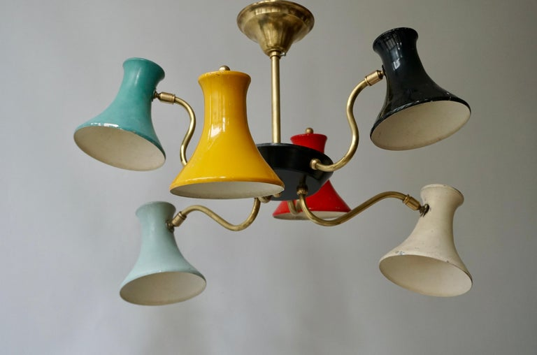 20th Century Six-Shade Pendant Light, Italy, 1950s For Sale