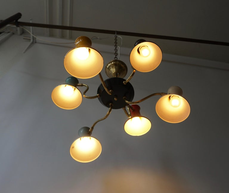Metal Six-Shade Pendant Light, Italy, 1950s For Sale