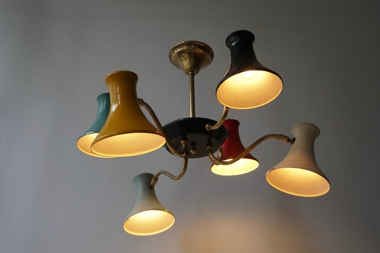 Six-Shade Pendant Light, Italy, 1950s For Sale 1