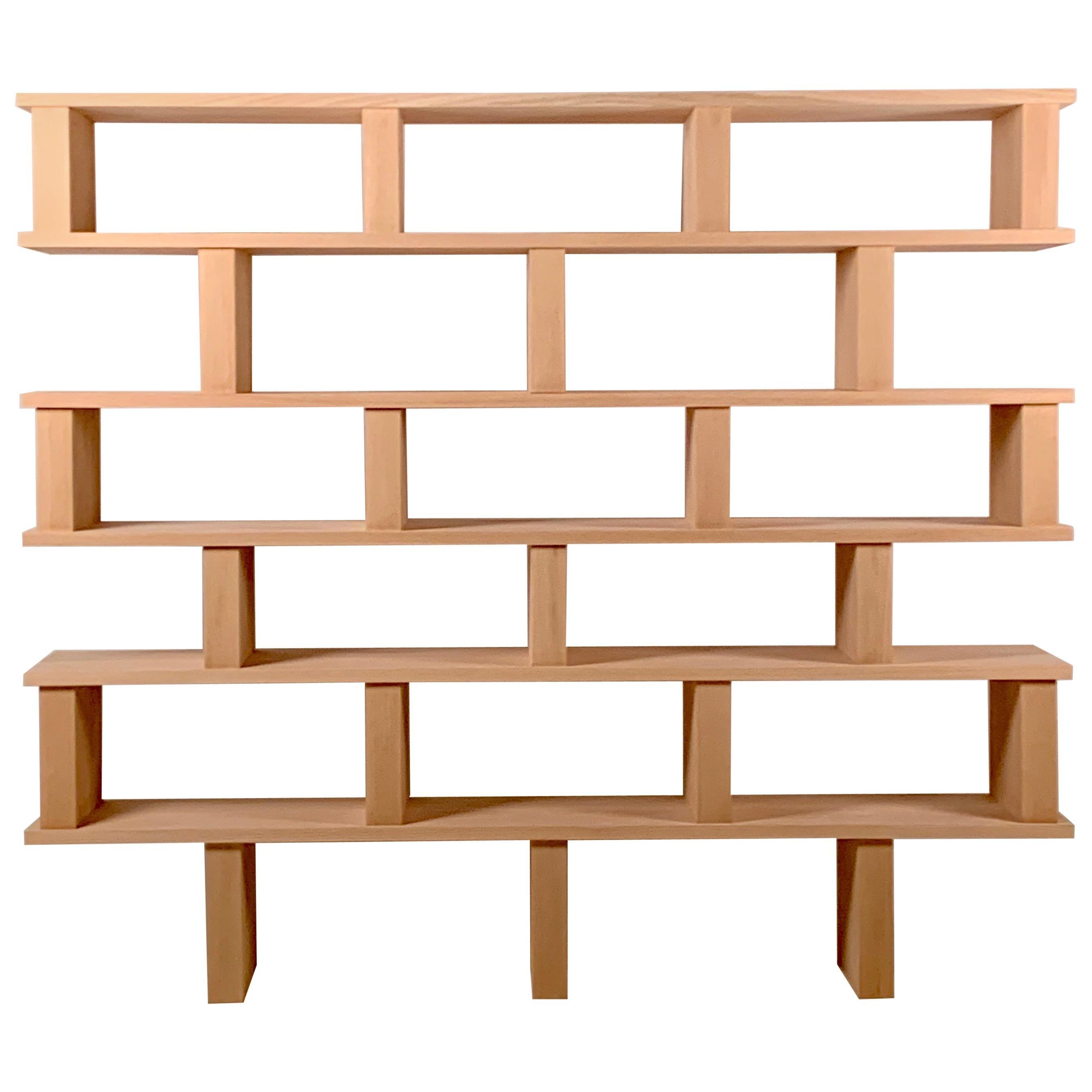 Six Shelves 'Verticale' Polished Oak Shelving Unit