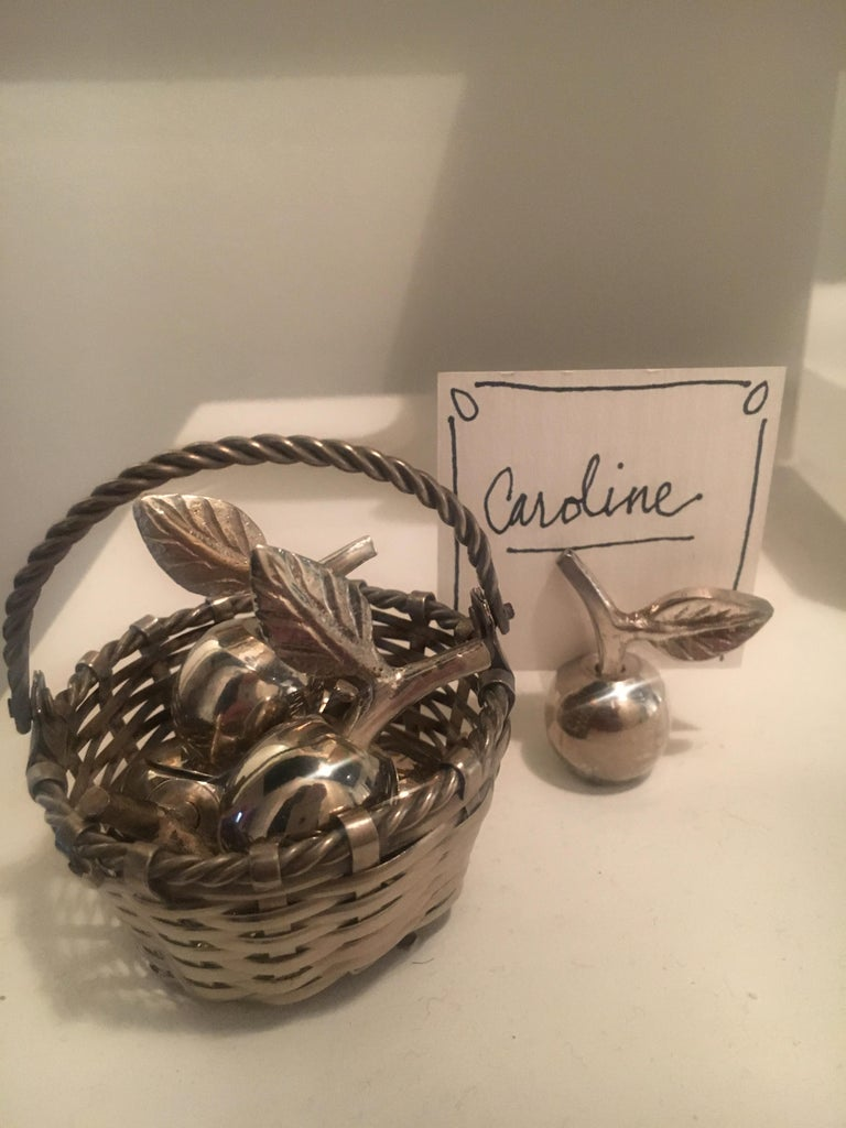 Six silver plate apple place card menu holders with woven basket - Perfect set for the host with a lovely theme. So special they can be stored in their own special place in a handsome woven basket!   Measures: Basket is 2