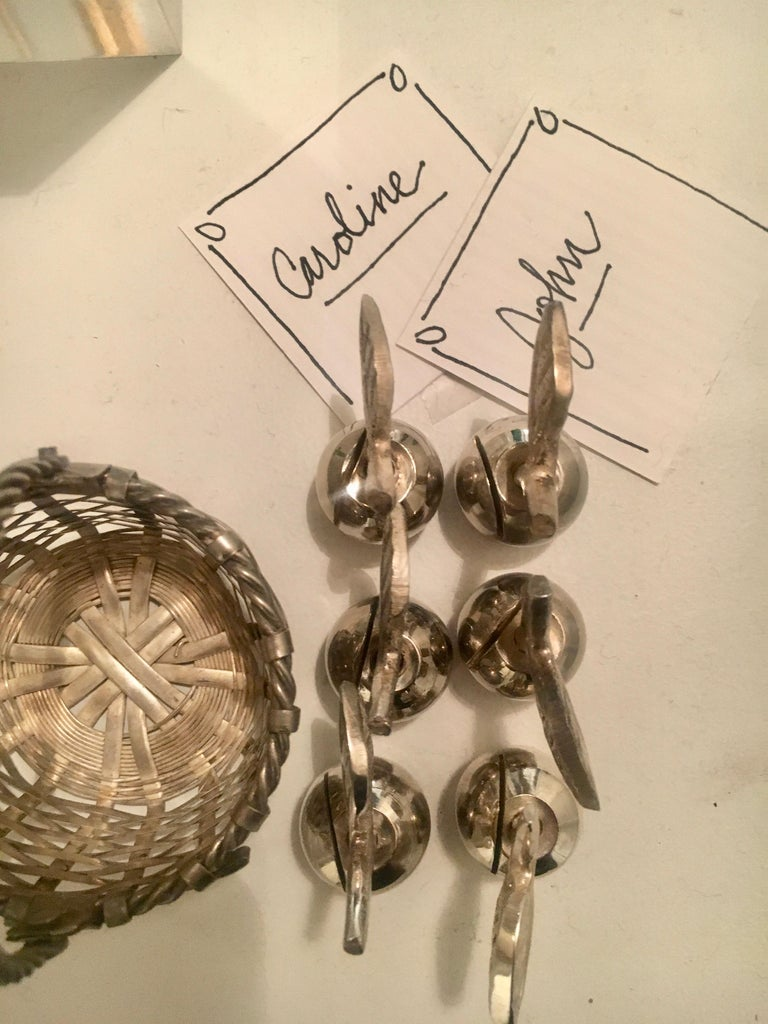 Mid-Century Modern Six Silver Apple Place Card Menu Holders with Woven Basket For Sale