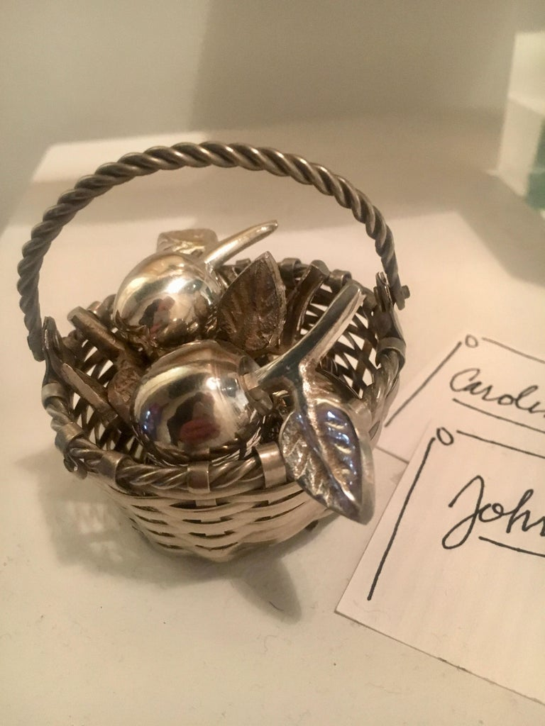 20th Century Six Silver Apple Place Card Menu Holders with Woven Basket For Sale