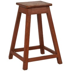 Six Simple Wooden Factory Stools from Late 19th Century France