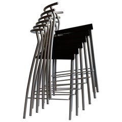 Six Stackable Hi-Glob Philippe Starck Bar Stools for Kartell, Italy, 1993