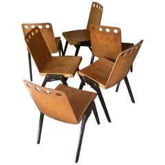 Six Stackable Industrial Chairs in the Spirit of Jean Prouvé, France, 1950