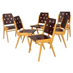 Six Stacking Chairs by Franz Schuster for Wiesner Hager, Model Maestro