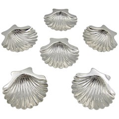 Six Sterling Silver Shell Dishes