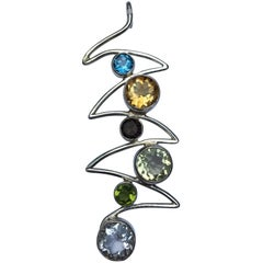 Six Stones Wave Pendant Set in Sterling Silver
