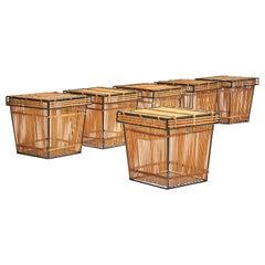 Six Storage Baskets Attributed to Dirk Van Sliedregt for Rohé, Netherlands 1960s