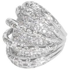 Six Strand Over Pave Diamond Base Fashion Ring in 18 Karat WG 5.21 Carat