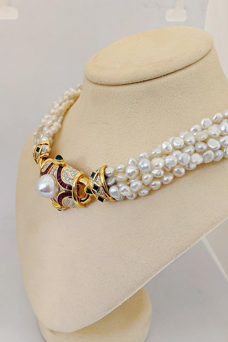 Six Strand Pearl Necklace with Diamond, Ruby, Emerald, and Blue Sapphire Center In New Condition For Sale In New York, NY