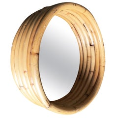 Six-Strand Round Small Decorative Porthole Rattan Mirror