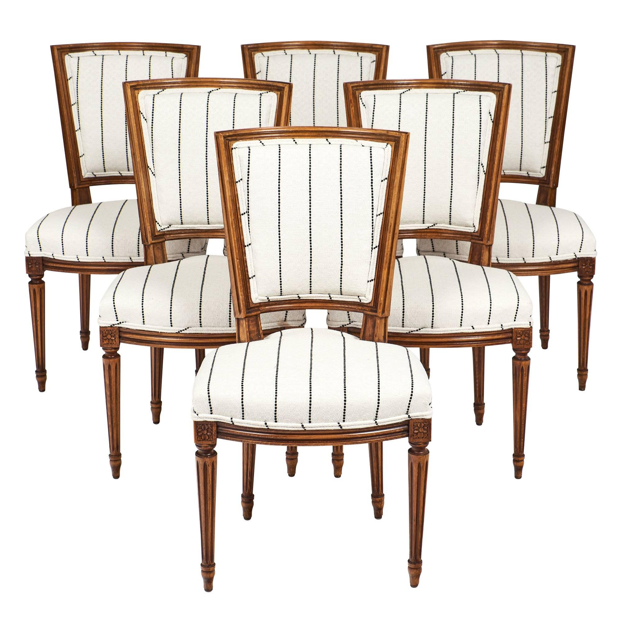 Six Striped Louis XVI Style Dining Chairs