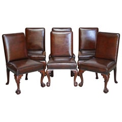 Six Stunning Fully Restored Brown Leather Mahogany Claw & Ball Dining Chairs 6