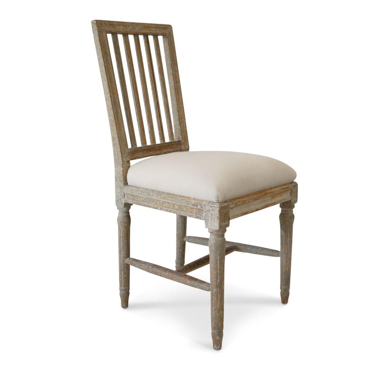 Gustavian Six Green-Gray Painted Swedish Dining Chairs For Sale