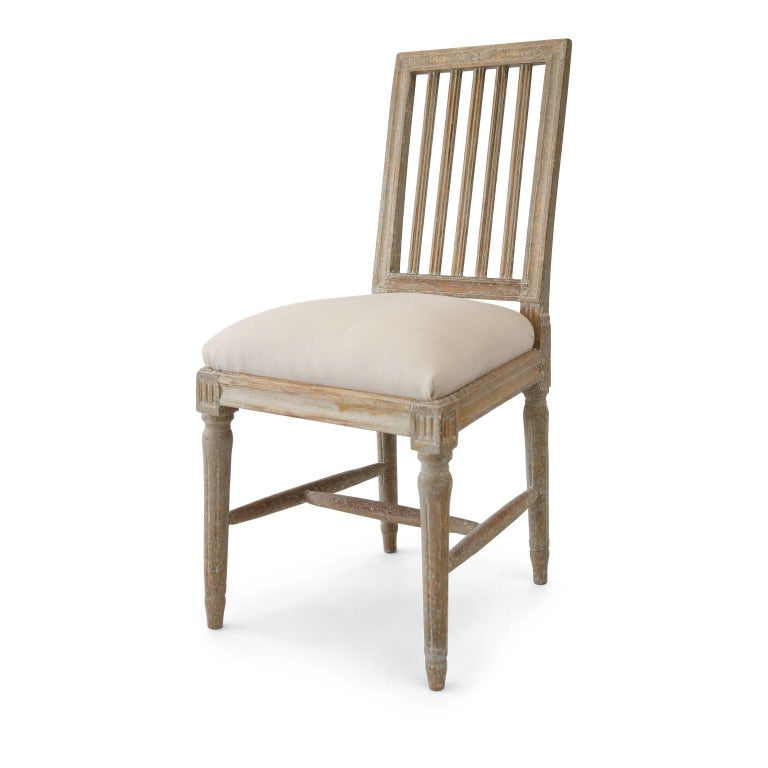 Hand-Carved Six Green-Gray Painted Swedish Dining Chairs For Sale