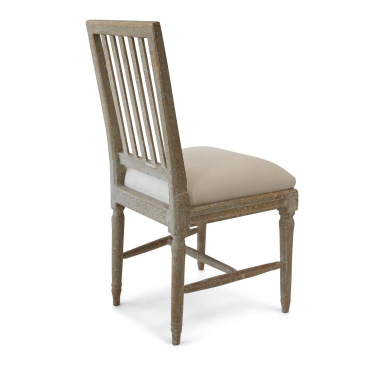 Six Green-Gray Painted Swedish Dining Chairs In Good Condition For Sale In Houston, TX