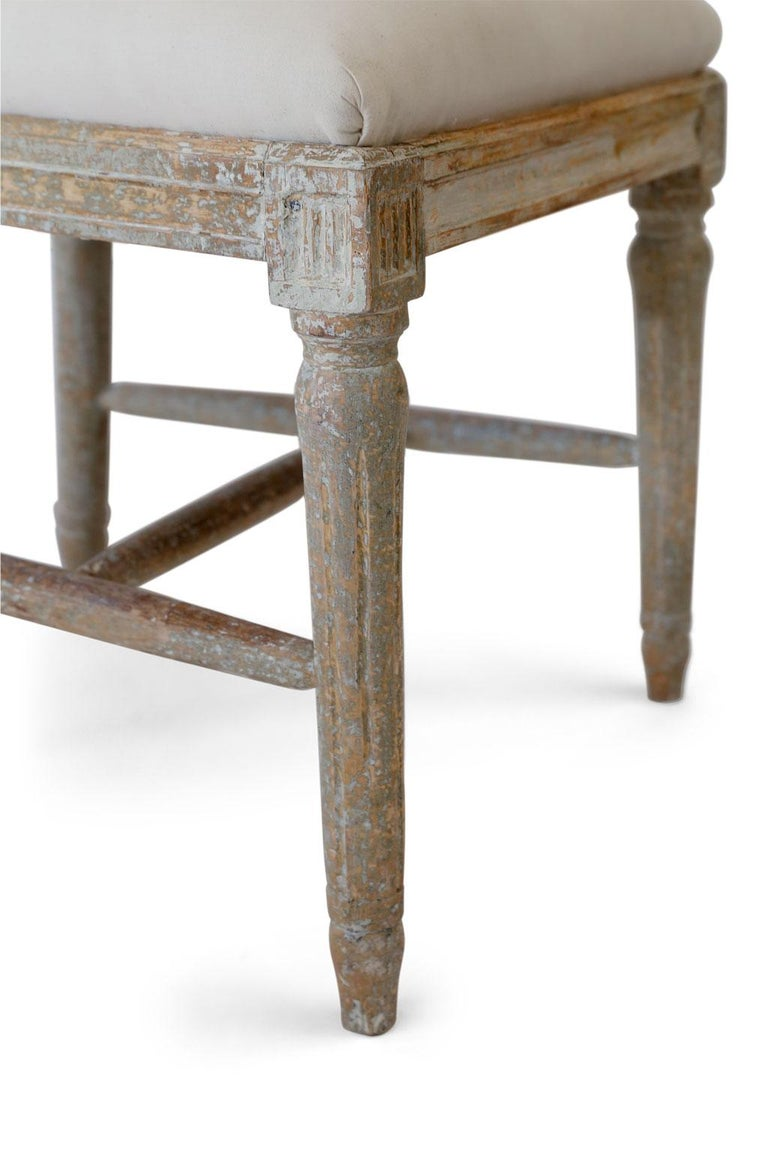 18th Century Six Green-Gray Painted Swedish Dining Chairs For Sale