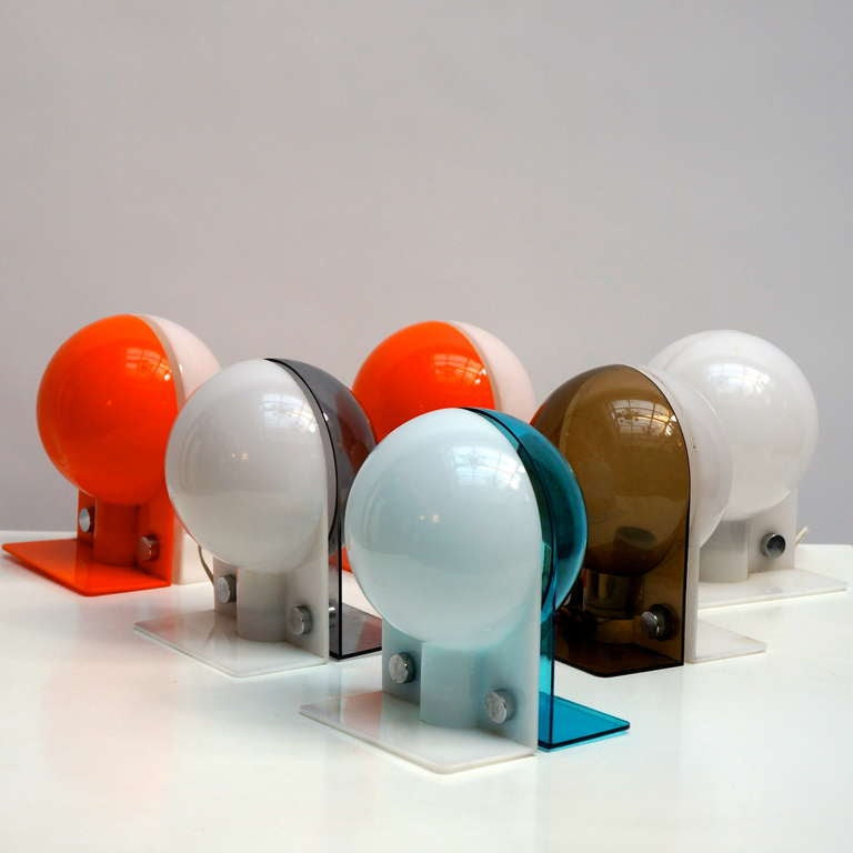 Mid-Century Modern Six Table or Wall Lamps by Guzzini For Sale