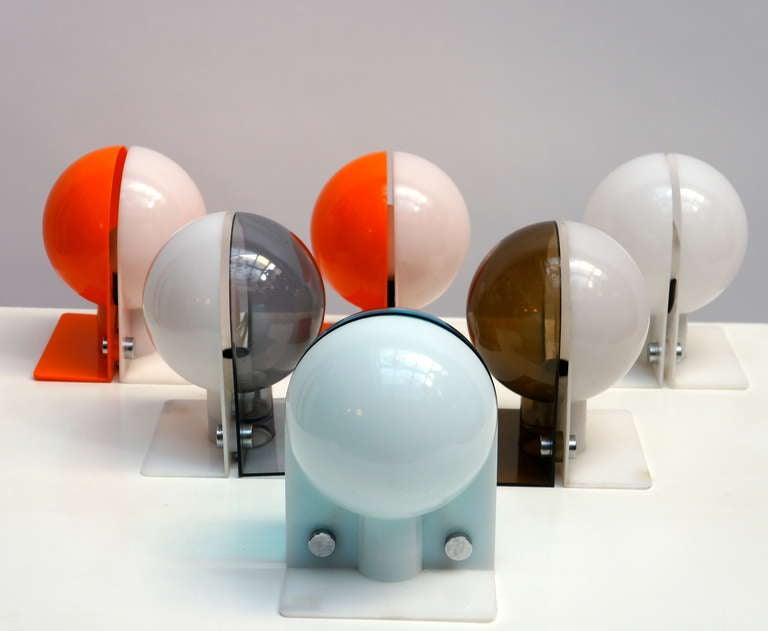 Italian Six Table or Wall Lamps by Guzzini For Sale
