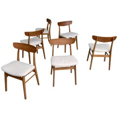 Six Teak Danish Heart Chairs with Seats in Pure Merino Wool, by Farstrup Møbler