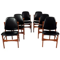 Six Teak Dining Chairs Design by Arne Hovman-Olsen
