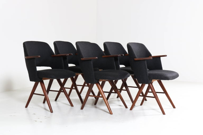 Dutch Six Teak Mid-Century Modern FE30 Dining Chairs by Cees Braakman for Pastoe, 1960 For Sale