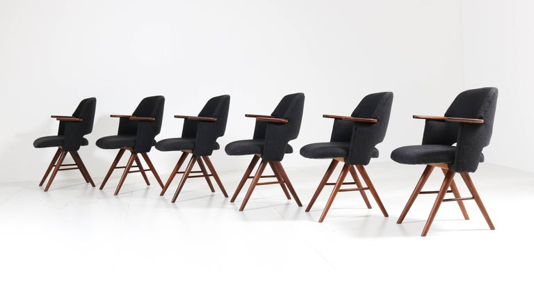 Six Teak Mid-Century Modern FE30 Dining Chairs by Cees Braakman for Pastoe, 1960 In Good Condition For Sale In Amsterdam, NL