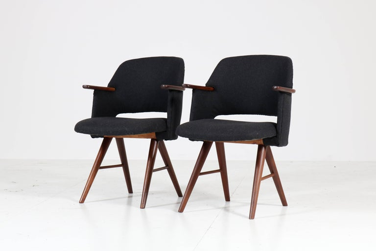 Velvet Six Teak Mid-Century Modern FE30 Dining Chairs by Cees Braakman for Pastoe, 1960 For Sale