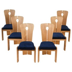 Set of Six Three-Legged Pine Chairs, circa 1960s-1970s