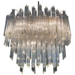 Six-Tier Murano Crystal Italian Chandelier, 120 Quadriedri Prism, circa 1960