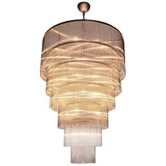 Six-Tiered Clear Glass Rod Chandelier, 1970s
