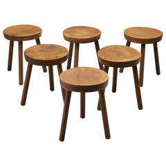 Six Tripod Stools in Solid Oak