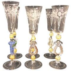 Six Unique Murano Champagne Glasses, Italy, 19th Century