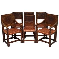 Six Very Rare 1930s Burr Oak Restored Robert Mouseman Thompson Dining Chairs 6