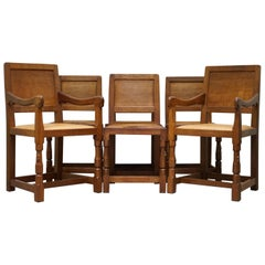 Six Very Rare 1950s Honeycomb Oak Robert Mouseman Thompson Dining Chairs 6