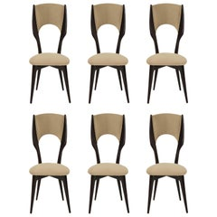 Six Vintage Borsani Style Dining Chairs  Beige Cashmere Fabric, Italy 1950s