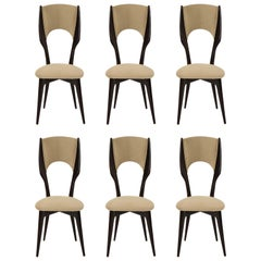 Six Vintage Borsani Style Dining Chairs Beige Cashmere Fabric, Italy, 1950s