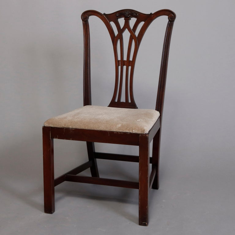 Six Vintage Chippendale Style Carved Mahogany Ribbon Back Dining Chairs For Sale 5
