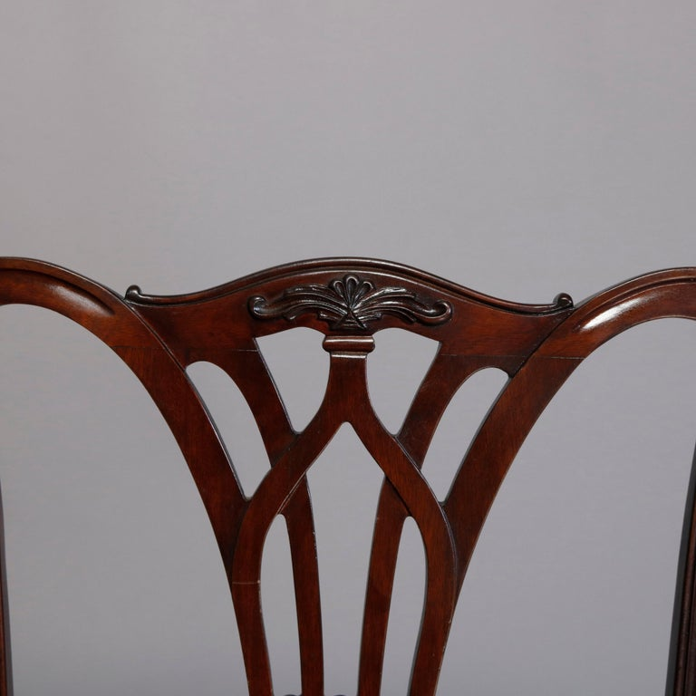 19th Century Six Vintage Chippendale Style Carved Mahogany Ribbon Back Dining Chairs For Sale