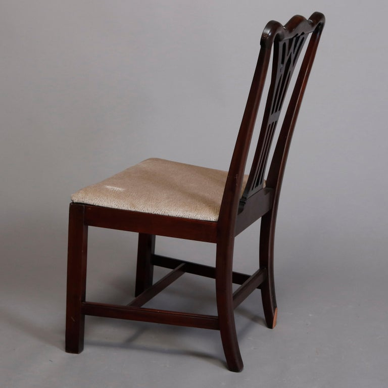 Six Vintage Chippendale Style Carved Mahogany Ribbon Back Dining Chairs For Sale 1