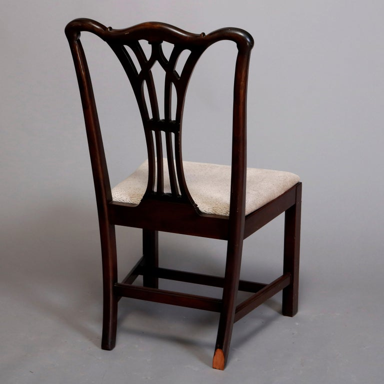 Six Vintage Chippendale Style Carved Mahogany Ribbon Back Dining Chairs For Sale 2