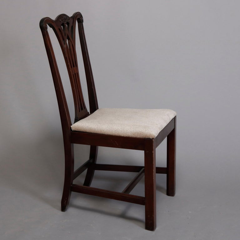 Six Vintage Chippendale Style Carved Mahogany Ribbon Back Dining Chairs For Sale 3
