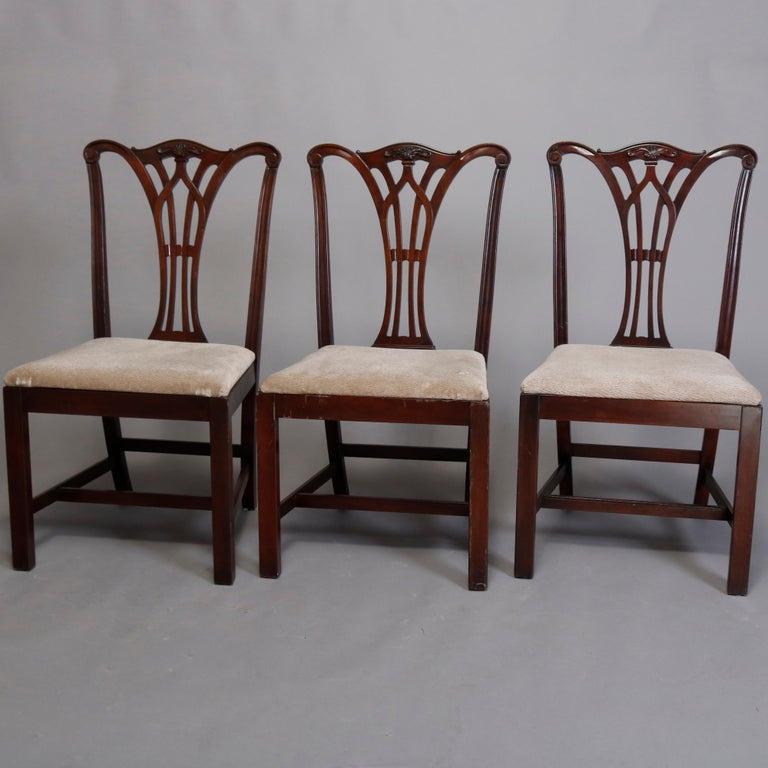 Six Vintage Chippendale Style Carved Mahogany Ribbon Back Dining Chairs For Sale 4