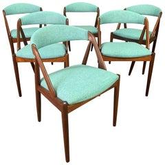 "Six Vintage Danish Midcentury Teak Dining Chairs ""Model 31"" by Kai Kristiansen"