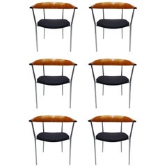 Six Vintage Danish Solid Cherrywood 'Cowhorn' Hans Wegner Style Dining Chairs