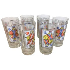 Six Vintage Dorothy Thorpe Highball Glasses with Playing Card Motif