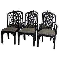 Six Vintage Ebonized Chinese Chippendale Stylized Bamboo Dining Chairs